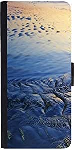 Snoogg Beach Texture Graphic Snap On Hard Back Leather + Pc Flip Cover Lg G2