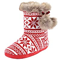Autumn Faith Ladies Knitted Fairisle Lined Bootie Slippers with Cosy Faux Fur Trim & Pompoms