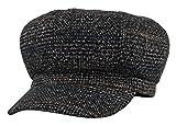 GEMVIE Damen Barett Maler Mütze Wollmütze Achteckigen Mütze Schiebermütze Baskenmütze mit Visor Schwarz