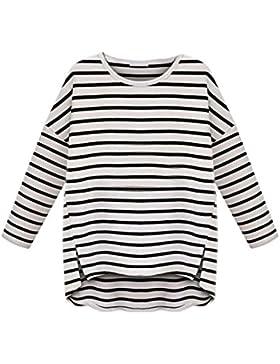Vovotrade mujer Cuello redondo de manga larga a rayas camiseta que basa la camisa