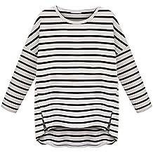 Vovotrade® Mujer Cuello Redondo de Manga Larga a Rayas Camiseta Que Basa la Camisa