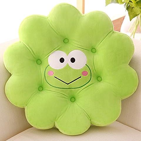 Grüne Karikatur Baumwolltier-Blumen-Hauptkissen-Frosch-netter Auflage-angefüllter Plüsch-Dekor der bequemen Sitzkissen