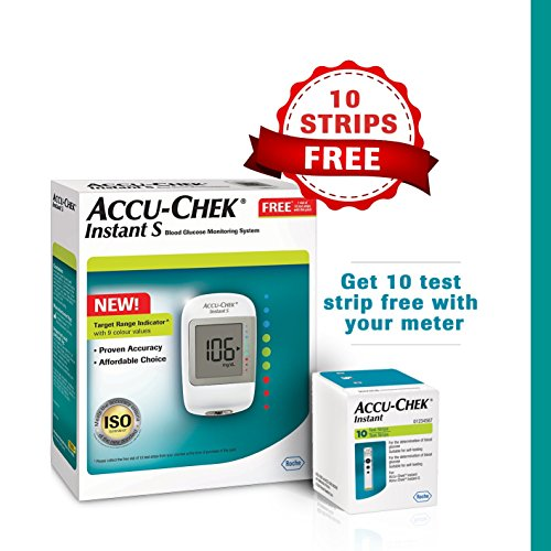 Accu-Chek Instant Blood Glucose Monitoring System with Free Test Strips, 10 Count (White)