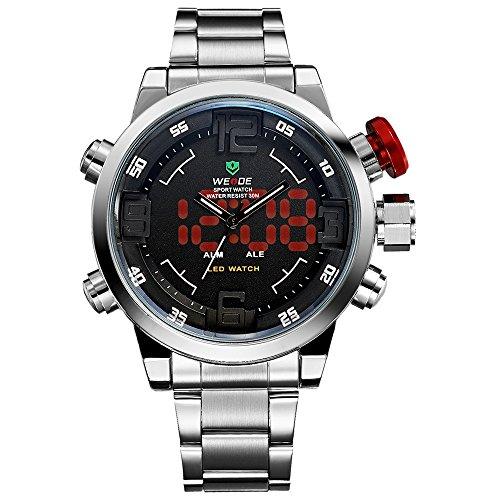 Montre,Montres Hommes,Montre-bracelet japonaise de quartz analogique-numérique de Digital de bande d'acier inoxydable argent de luxe,montres multifonctionnelles de mode de sport pour des hommes