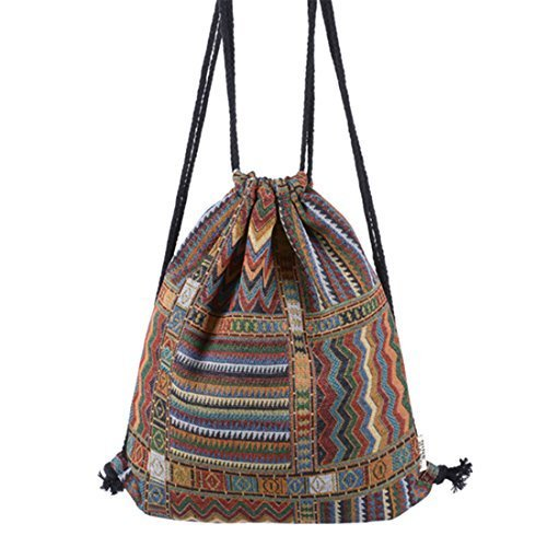 HITOP Harajuku Mode Rucksack Leinwand geometrische Muster Menschen Umhängetasche Freizeit Kordelzug Reise Kordel Tasche 01
