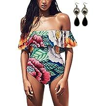 Sitengle Para Mujer Bañadores Ropa de Atractivas Sin Tirantes Multicolor Estampado Floral Bikinis Monokini Traje de Baño de Playa Natación