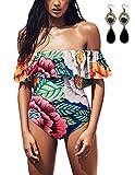 Sitengle Donna Costumi Interi Halterneck Costumi da Bagno Stampato Floreale Balze Bandeau Monokini Spalla di Parola Bikinis Swimsuit Beachwear