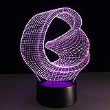 3D Creative Veilleuse, Led de motocyclettes Lampe 3D 7 Couleur changeante Led Veilleuse Night Light Remote Touch 3D Illusion Lampe Lampe de couchage, D