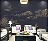 HONGYUANZHANG Schwarzer Unbedeutender Gebäudegewohnheit 3D Foto-Tapete Künstlerische Landschaft Fernsehhintergrundtapete,92Inch (H) X 124Inch (W)