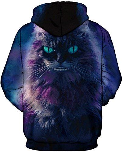 AureQet Unisex Realistische Herren 3D Galaxy Kapuzenpullover Pullover Hoodie Kapuzen Langarm Sweatshirt Kapuzenjacke Lila Katze