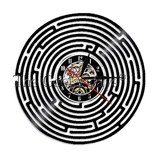 rinth Minimalistische Wanduhr Dekorationsartikel Reise Um Die Welt Labyrinth Modernes Design Vinyl Rekord Wanduhr ()
