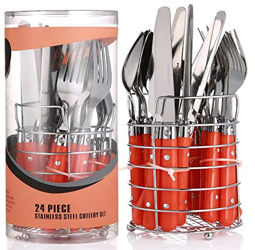 Besteck Set mit Besteckkorb 6 Personen Orange | 24 teilig | Edelstahl - Spülmaschinenfest | Besteckset Essbesteck mit Ständer