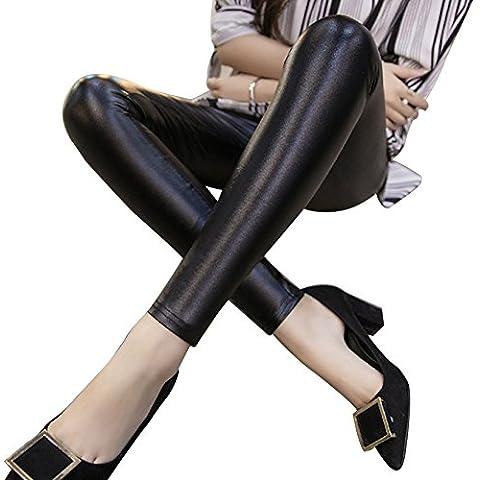 LaoZan Mujer cuero de la PU Pantalones alto cintura cuero de imitación Leggings XXL Estilo de primavera (Negro)
