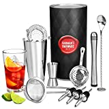 bar@drinkstuff - Kit da barman, set per preparare cocktail e bevande, con shaker Boston in latta e vetro, misurino, miscelatore, cucchiaio mixer, versatore, colino per cocktail Hawthorne, colino per cocktail Julep e setaccio conico da cocktail