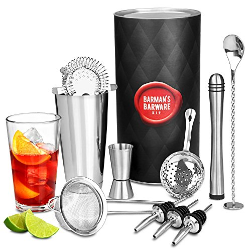 Barman's Barware Kit by bar@drinkstuff | Cocktail Gift Set with Boston Cocktail Shaker ...