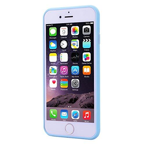 Custodia per Apple iPhone 6 / 6S ( 4.7 pollici ), HB-Int 3 in 1 Rosa Gomma TPU Gel Silicone Case Flessibile Morbido Shell Custodia Cuore Disegno Caso Ultra Sottile Leggera Copertura Anti Graffi Resist Azzurro