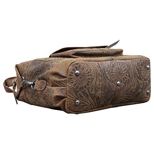 HILL BURRY Damen Schultertasche Beuteltasche Shopper Bag Büffelleder Leder Retro Look, Farbe:Braun Braun