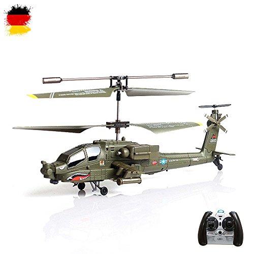 Outdoor Rc Syma Hubschrauber (3.5 Kanal RC ferngesteuerter mini Blackhawk UH-60 Apache Militär Army Hubschrauber mit der neuesten Gyro-Technik, RTF Komplett-Set)