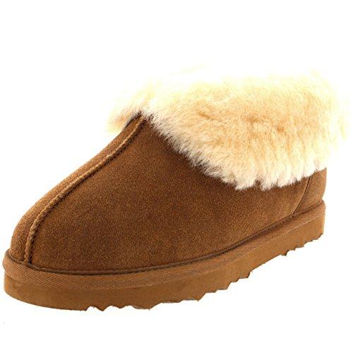 dleder Australian Sheepskin Pelz Gefüttert Warm Haus Pantoffel Stiefel - Tan - TAN38 AYC0220 (Polar Hausschuhe)