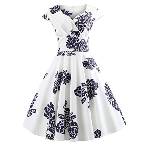 Lazzboy Women Vintage Sleeveless Printing V Neck Evening Party Prom Swing Dress