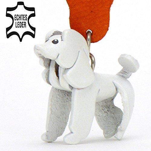 Pudel Paula - Schlüsselanhänger Figur aus Leder in der Kategorie Kuscheltier / Stofftier / Plüschtier von Monkimau in weiß - Dein bester Freund. Immer dabei! - 5x2x4cm LxBxH klein, jeweils (F Kostüme Buchstabe)