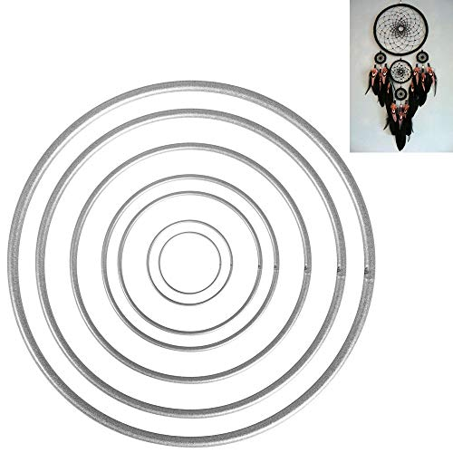 FOGAWA 14pcs Anillos de Metal Dreamcatcher Aros de Metal para atrapasueños Anillos de Macrame para Dream Catcher Rings manualidad CarillóndeVientoArtesanías 7 Tamaños (Plateado)