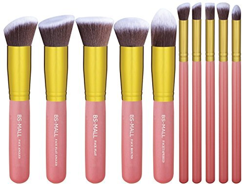 BS-MALL 10 Piece Premium Synthetic Kabuki Makeup Foundation Blending Blush Face Powder Brush Set (Golden Pink)