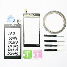 JRLinco ParaSony Xperia M2S50H D2302D2303 Pantalla de Cristal Táctil, Pieza de Recambio touchscreen glass display(Sin LCD) Para Negro+ Herramientas y Adhesivo de Doble Cara + Paquete de Limpieza