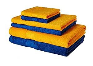 Amazon Brand - Solimo 100% Cotton 6 Piece Towel Set, 500 GSM (Iris Blue and Sunshine Yellow)