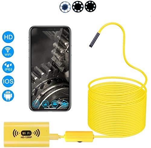 Qian WiFi Endoskop HD 1200P 8mm optische wasserdichte Kamera Wireless-Halb temperiert Schlauch für industrielle Klimaanlage Reparatur Auto Rohr,Hardcable,1M