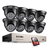 ZOSI 8CH 720P HD TVI Video Überwachungssystem 8CH HDMI DVR Recorder mit 8 x 720P Außen Dome Überwachungskamera Set 1TB Festplatte, 20M IR Nachtsicht, Bewegung Alarm