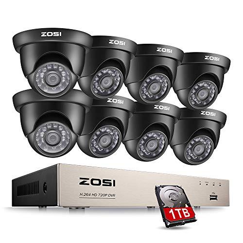 ZOSI 8CH 720P Außen Video Überwachungssystem HDMI DVR Recorder mit 8 x Outdoor 720P Dome Überwachungskamera Set 1TB Festplatte, 20M IR Nachtsicht, Bewegung Alarm