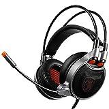 Fulltime E-Gadget Gaming-Kopfhörer 3,5-mm-Stereo-Kabel-Surround- Stirnband Mic-Kopfhörer für PC Switch, Laptop, Tablets, Handy (Schwarz)