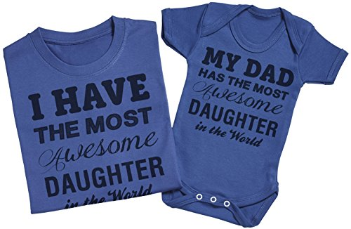 Most Awesome Daughter - Passende Vater Baby Geschenkset - Herren T-Shirt & Baby Strampler / Baby Body Rot