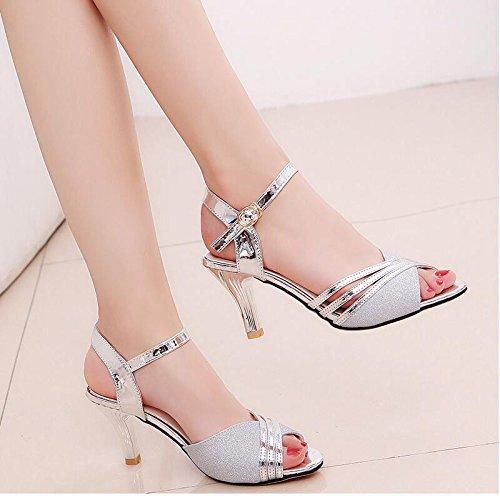 Lgk&fa sandali con tacco elegante e sottile scarpe a tacco 37 argento