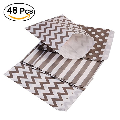 TOYMYTOY 48 Stücke Süßigkeiten Papiertüten Streifen und Punkt Welle für Gastgeschenke Geburtstag Hochzeit (Grau)