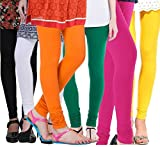 #4: Rooliums Women's Cotton Leggings Combo (Pack of 6) (HRCLCOMBO6-6_Free Size_Multi Color)