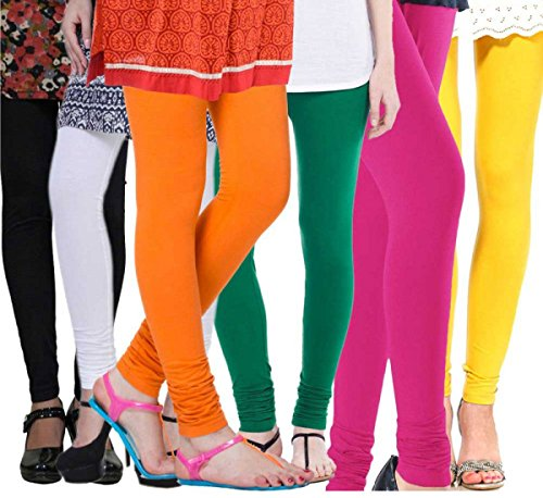 Rooliums Women's Cotton Leggings Combo (Pack of 6) (HRCLCOMBO6-6_Free Size_Multi...