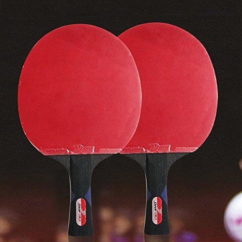 RDJM Ping Pong Paddel Set - Bester Tischtennisschläger Mit Hochleistungsgummi - Holzklinge Mit Langem Griff,2Pcs