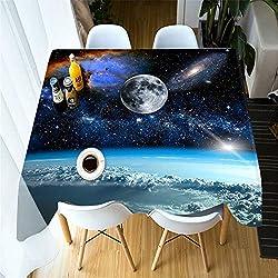 WSJIABIN Personnalité Univers Impression Numérique Nappe De Table 3D Nappe Pad Respectueux De l'environnement Insipide E 152X228Cm