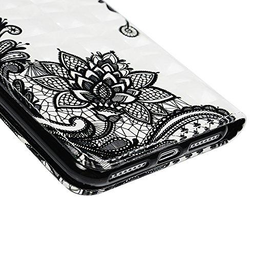 Badalink Hülle für iPhone 7 Plus / iPhone 8 Plus Einhorn Handyhülle Leder PU Case Magnet Flip Case Relief Schutzhülle Kartensteckplätzen und Ständer Handytasche mit Eingabestifte und Staubschutz Steck Schwarzes Muster