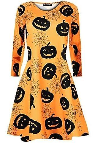 Babysbreath Femmes Dames à manches longues Halloween Pumpkin Cobweb Bats Flared Smock Skater Swing Dress Top XL