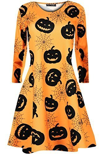 men Langarm Halloween Kürbis Spinngewebe Fledermäuse Flared Kittel Schlittschuhläufer Schaukel Kleid Top XL (Halloween Kittel)