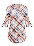 Anna Smith Camisas Henley para Mujer Moda 2018 Túnica de Franela a Cuadros...