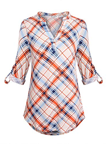 Anna smith camicie maniche a 3/4 da donna scollo a v top camicia scozzese design lavorato a maglia motivo stampato camicetta bagliore morbido pianura henley lavoro blu e arancione l