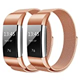 Hanlesi Fitbit Charge 2 Armband, Edelstahl Armbanduhren Watch Band Fitness für Fitbit Charge 2 (Klein, 2 pack roségold)