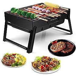 morpilot Tragbar Mini Grill, Faltbare Mini Holzkohlegrill BBQ, Outdoor Reisegrill, Tischgrill, Mini Grill für Outdoor Garten Camping Party Beach Barbecue