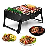 morpilot Tragbar Mini Grill, Faltbare Mini Holzkohlegrill BBQ, Outdoor Reisegrill, Tischgrill, Mini Grill für Outdoor Garten Camping Party Beach Barbecue