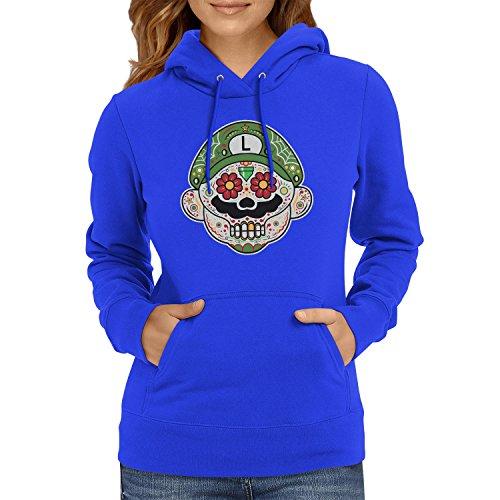i - Damen Kapuzenpullover, Größe L, marine (Super Mario Maker Luigi Kostüm)