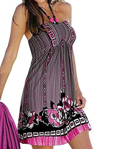 Reaso Femme Sans Manches Style National Fleur Impression licou Robe de plage (M, Gris)